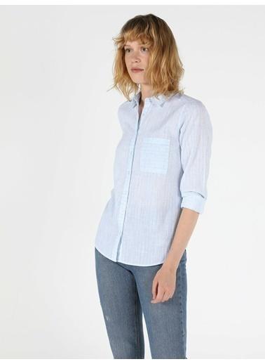 Colin's Colin'S Uzun Kol Shirt Neck Normal Kesim Cepli Kadın Gömlek Mavi